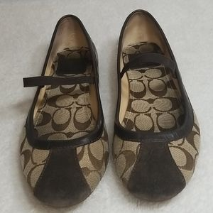 Coach Judey Slippers Flats Brown Signature Print